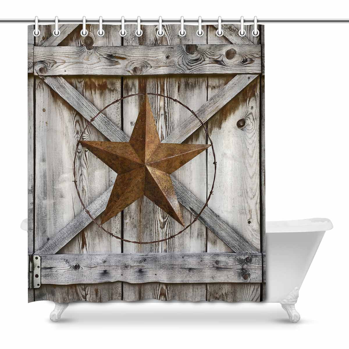 mkhert western texas star on rustic old barn wood waterproof shower curtain decor fabric bathroom set 66x72 inch walmart com