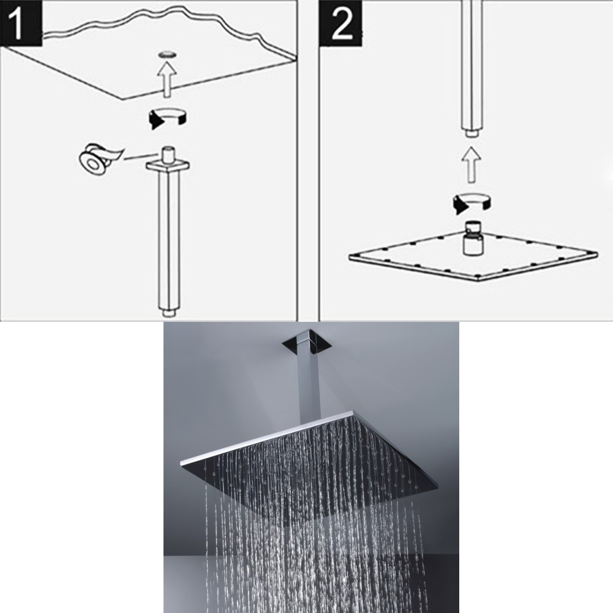 Shower Plumbing Supplies 12 30cm Square Chrome Wall