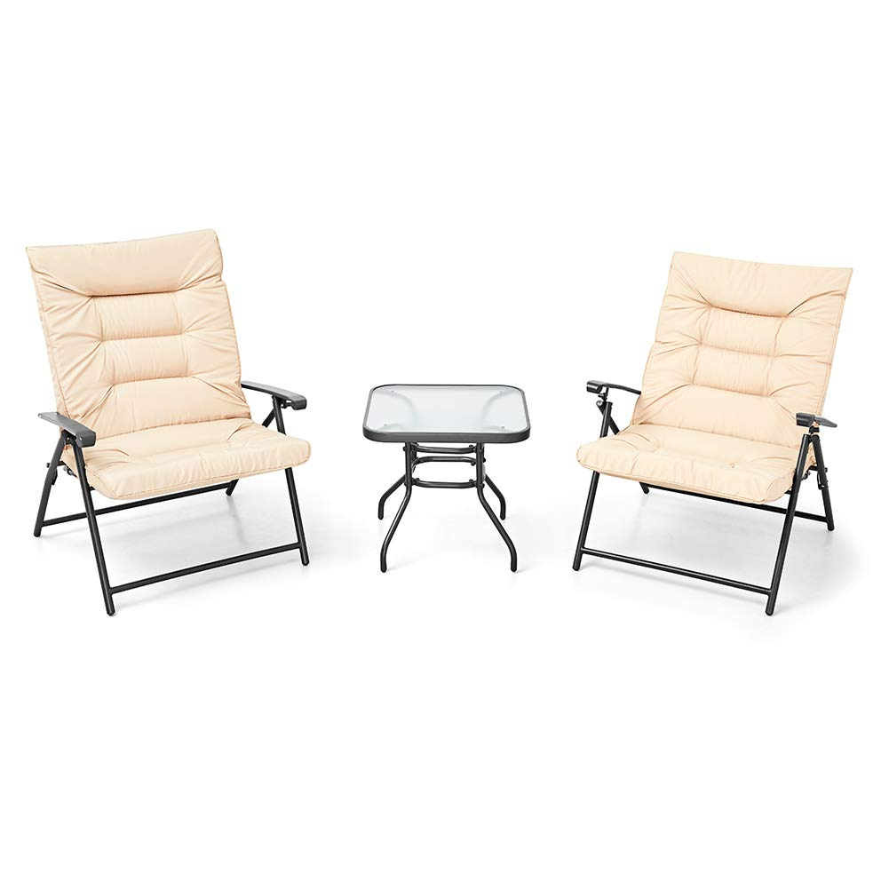 suncrown patio padded folding 3 pieces chair set adjustable reclining outdoor furniture metal sling chair w coffee table
