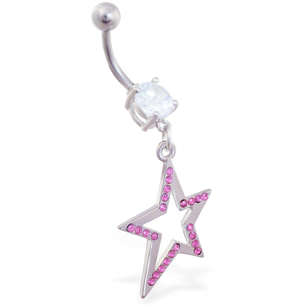 Belly Ring With Dangling Jeweled Crooked StarPink - B ...