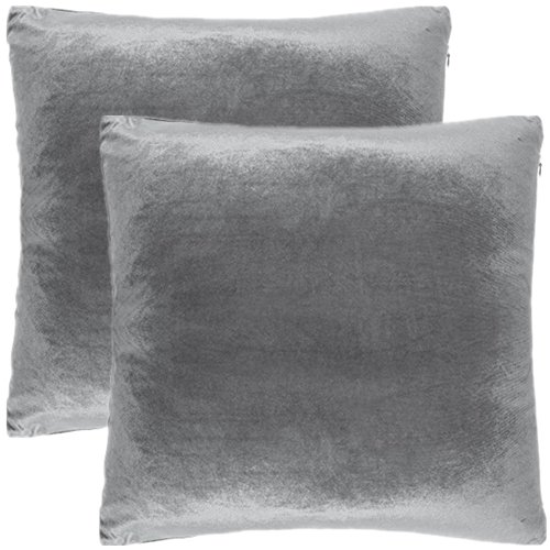 2 pc 26 x 26 inches soft velvet decorative euro pillow cover throw pillow case grey by alexandra dreamhome ship from us