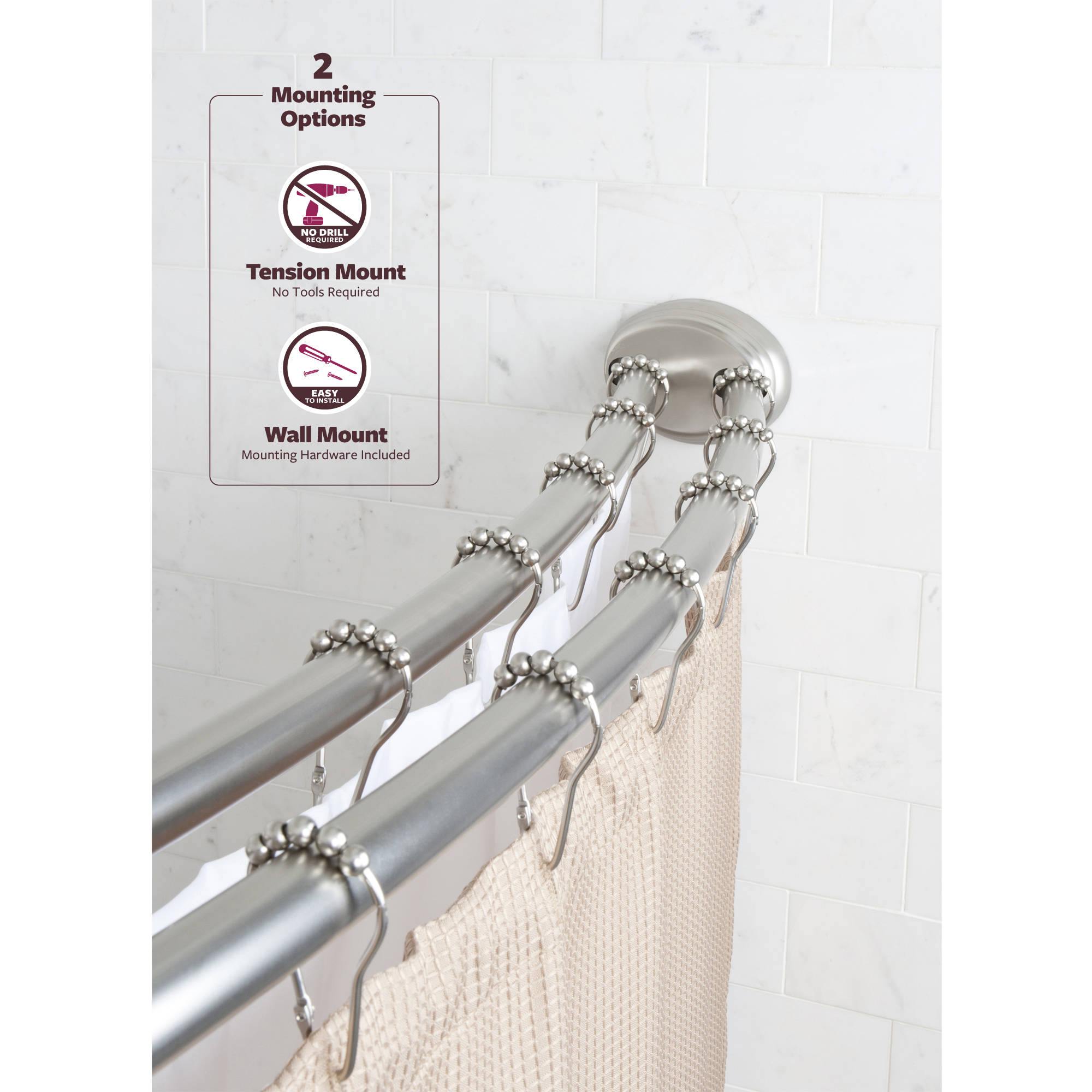 better homes gardens 50 x 72 adjustable dual installation double curved rod 1 each