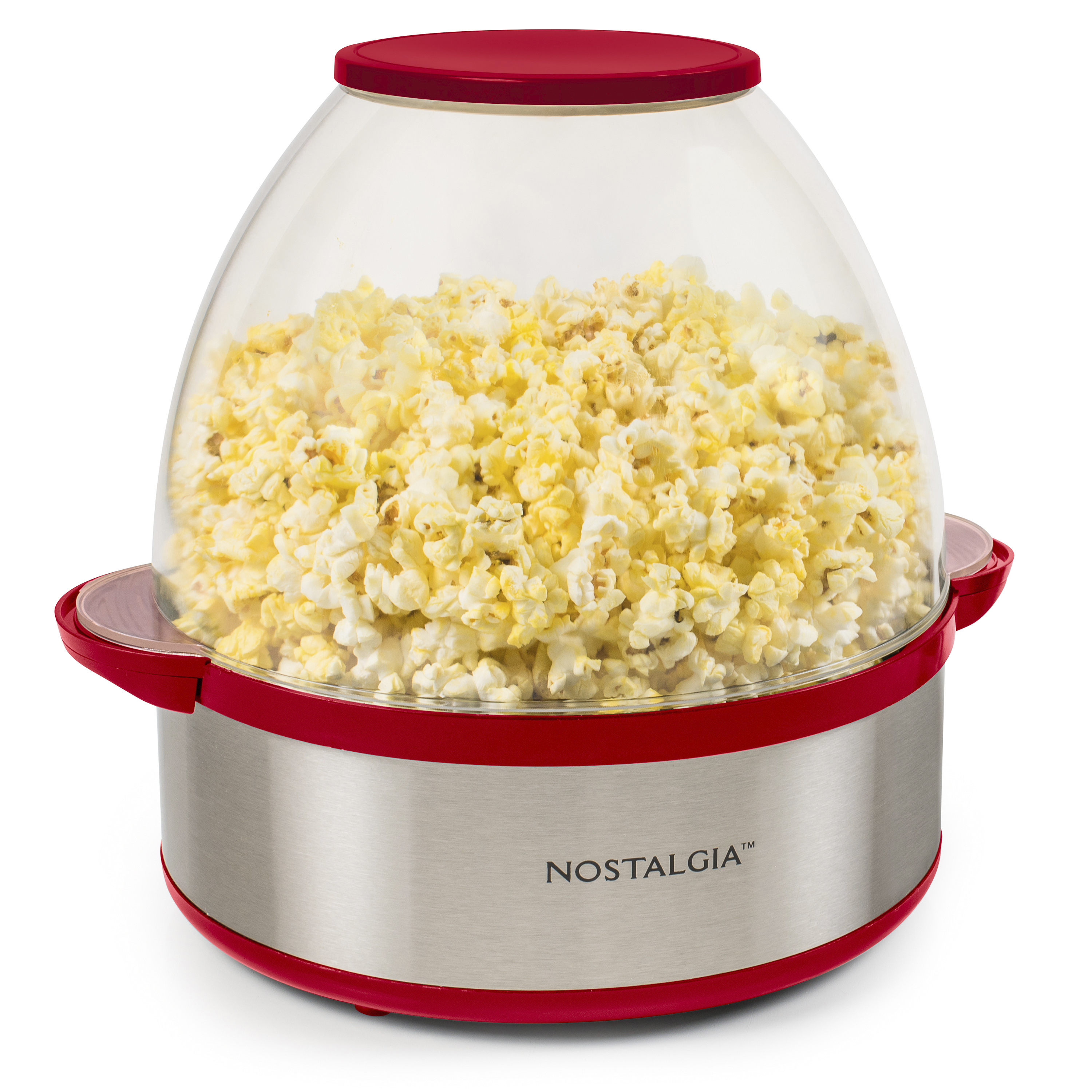 nostalgia 6 quart stirring popcorn popper makes 24 cups red and stainless