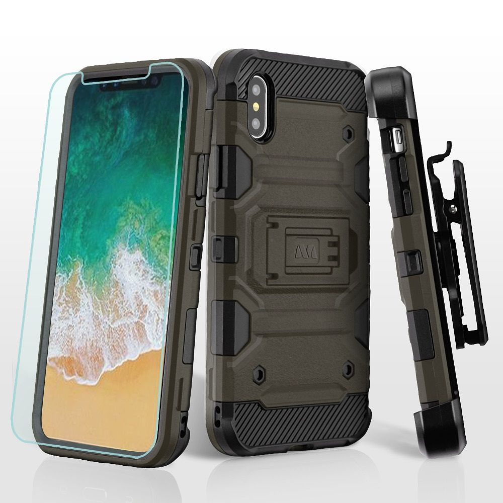iphone x case by insten 3 in 1 storm tank holster rotary 360 belt clip dual layer hybrid impact resist rugged kickstand case with glass protector for apple  [ 1000 x 1000 Pixel ]