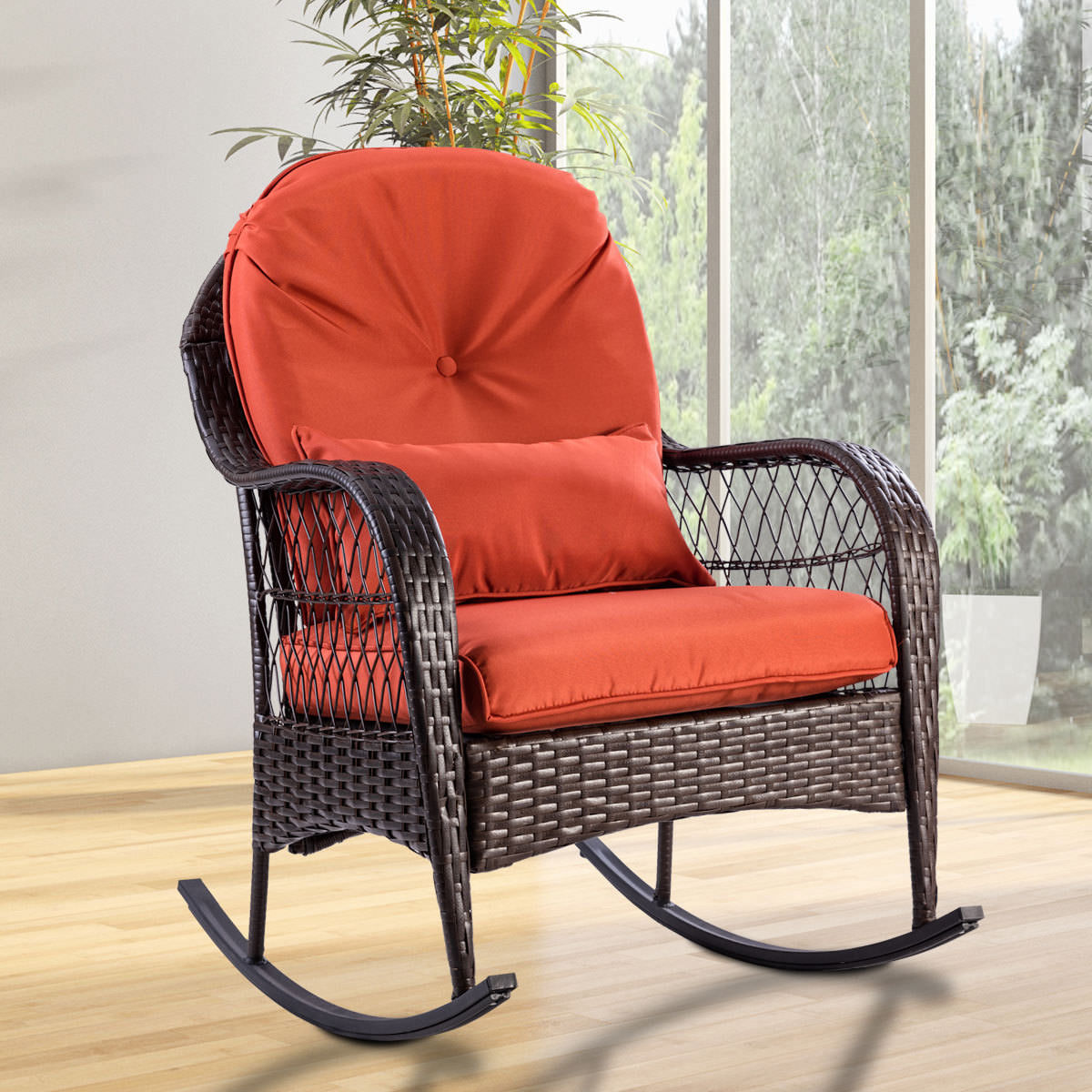 Wicker Rocking Chair Costway Outdoor Wicker Rocking Chair Porch Deck Rocker Patio Furniture W Cushion