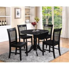 Round Table And Chairs Hanging Chair In Bedroom Dining Sets Walmart Com Product Image East West Furniture Dlno3 Blk W 3pc Kitchen With 2 Drop Leaves