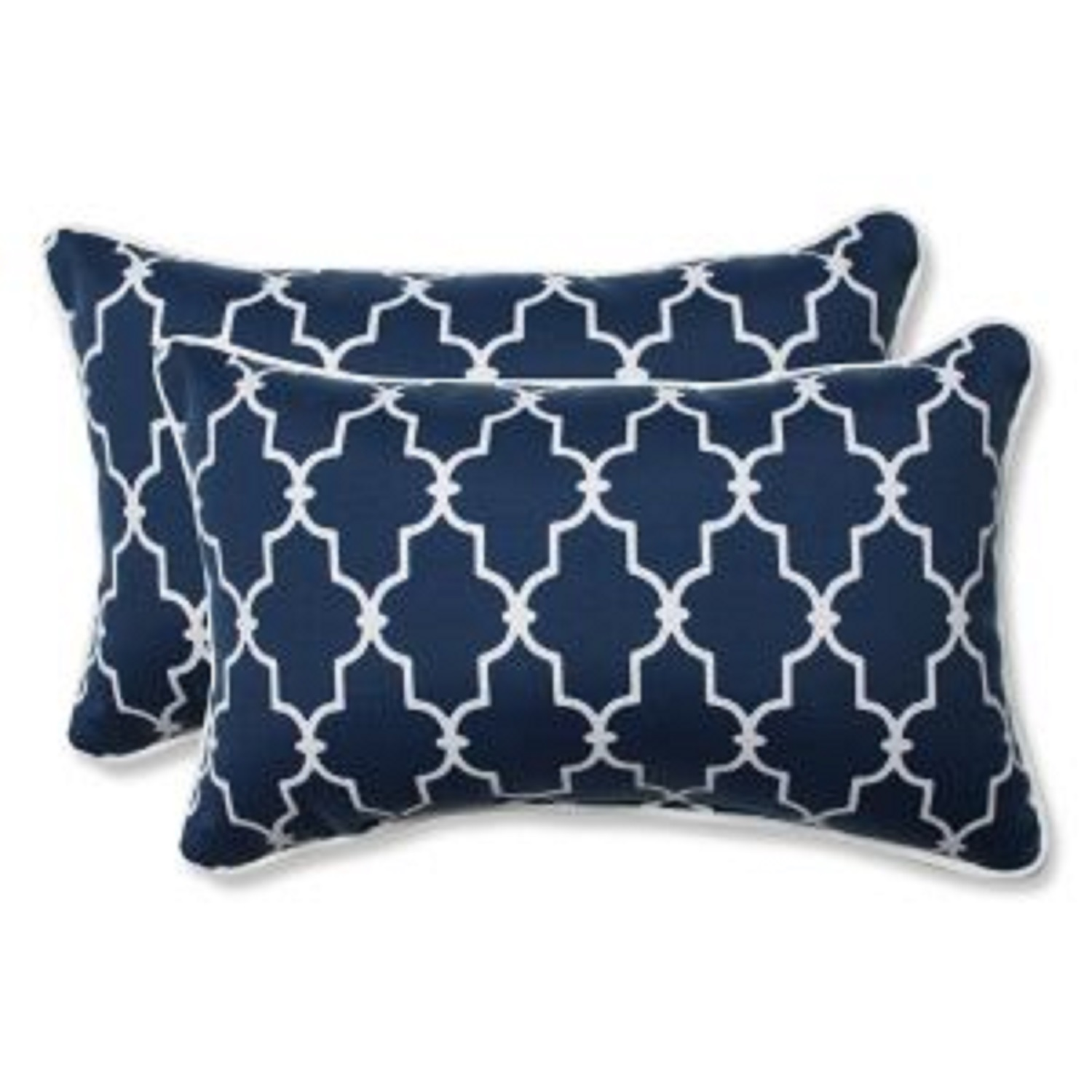 set of 2 moroccan gate navy blue and white rectangular corded throw pillows 18 5