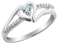 Aquamarine Heart Promise Ring with Diamonds in Sterling ...