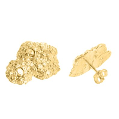 Lab Diamond 14k Gold Finish Nugget Earrings Vintage Mens