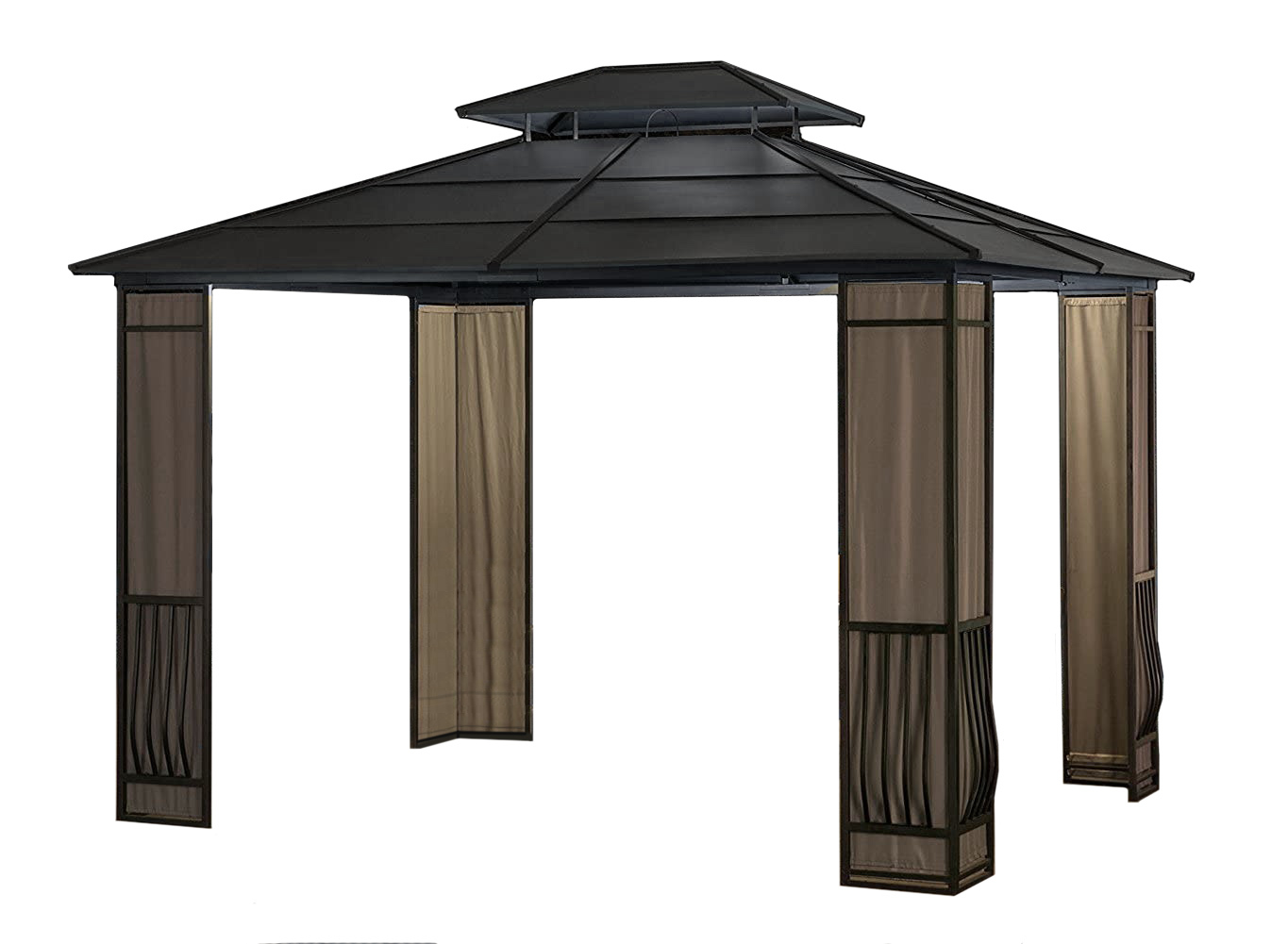 expand your outdoor living space with a 10 x 12 heavy duty galvanized steel hardtop wyndham patio gazebo with mosquito netting