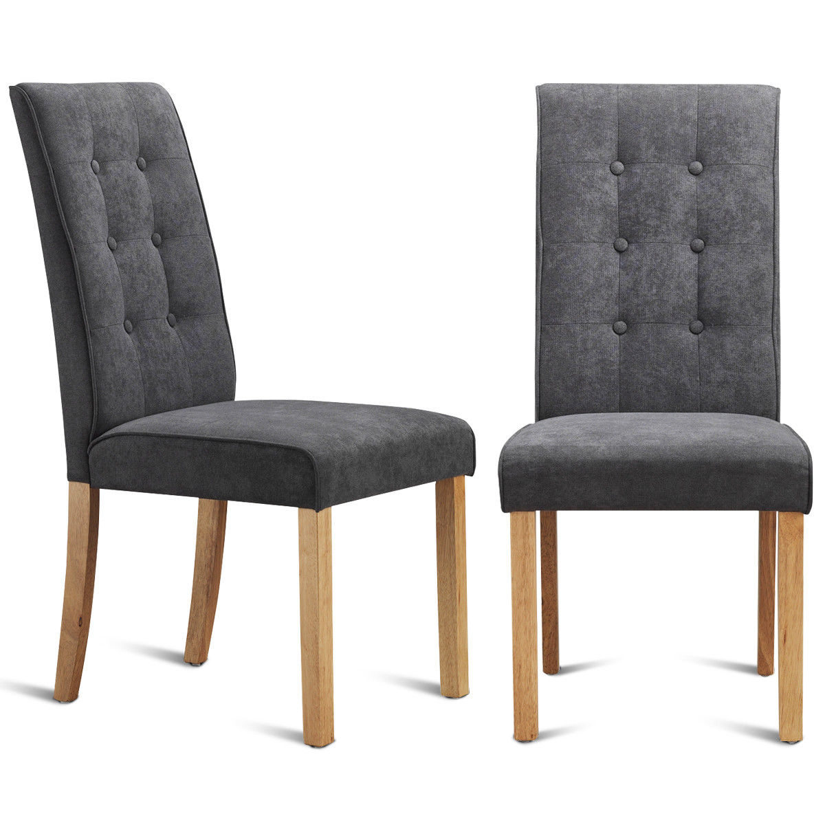 chairs kitchen aid toasters gymax set of 2 dining side upholstered fabric button tufted wooden legs qty