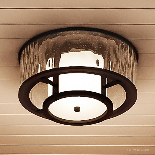 urban ambiance luxury coastal outdoor flush mount ceiling fixture size 7 3 8 h x 15 w with farmhouse style elements olde bronze finish and