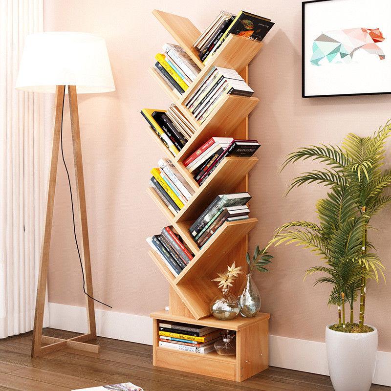 tree bookshelf compact book rack bookcase display storage furniture for cds movies books 9 shelf