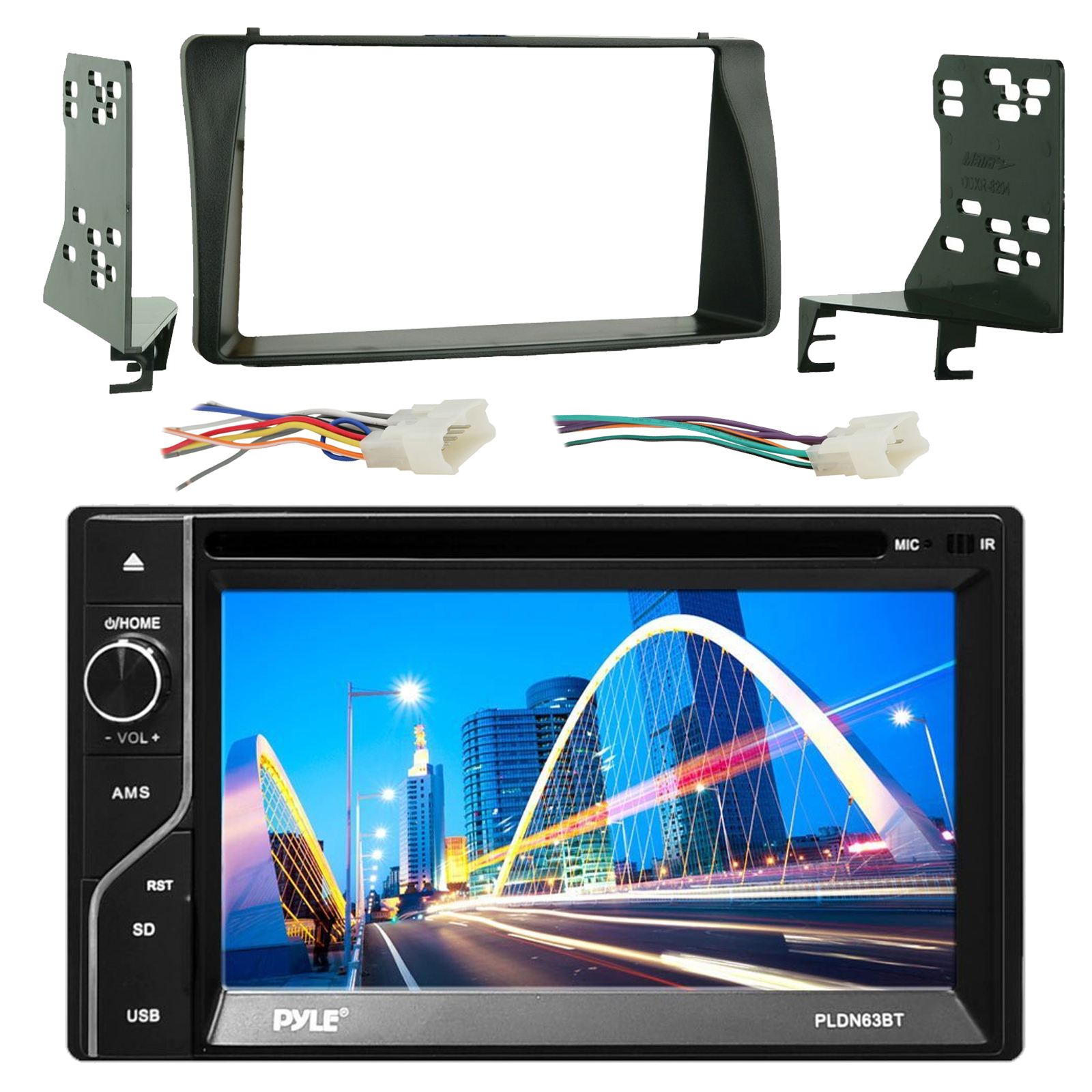 hight resolution of pyle pldn63bt 6 5 touch screen bluetooth cd dvd player stereo receiver bundle combo with metra 2 din installation dash kit wiring radio harness