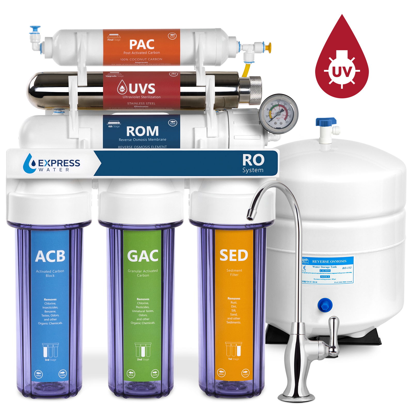 express water ultraviolet reverse osmosis water filtration system 6 stage ro uv water sterilizer with faucet and tank uv under sink water filter