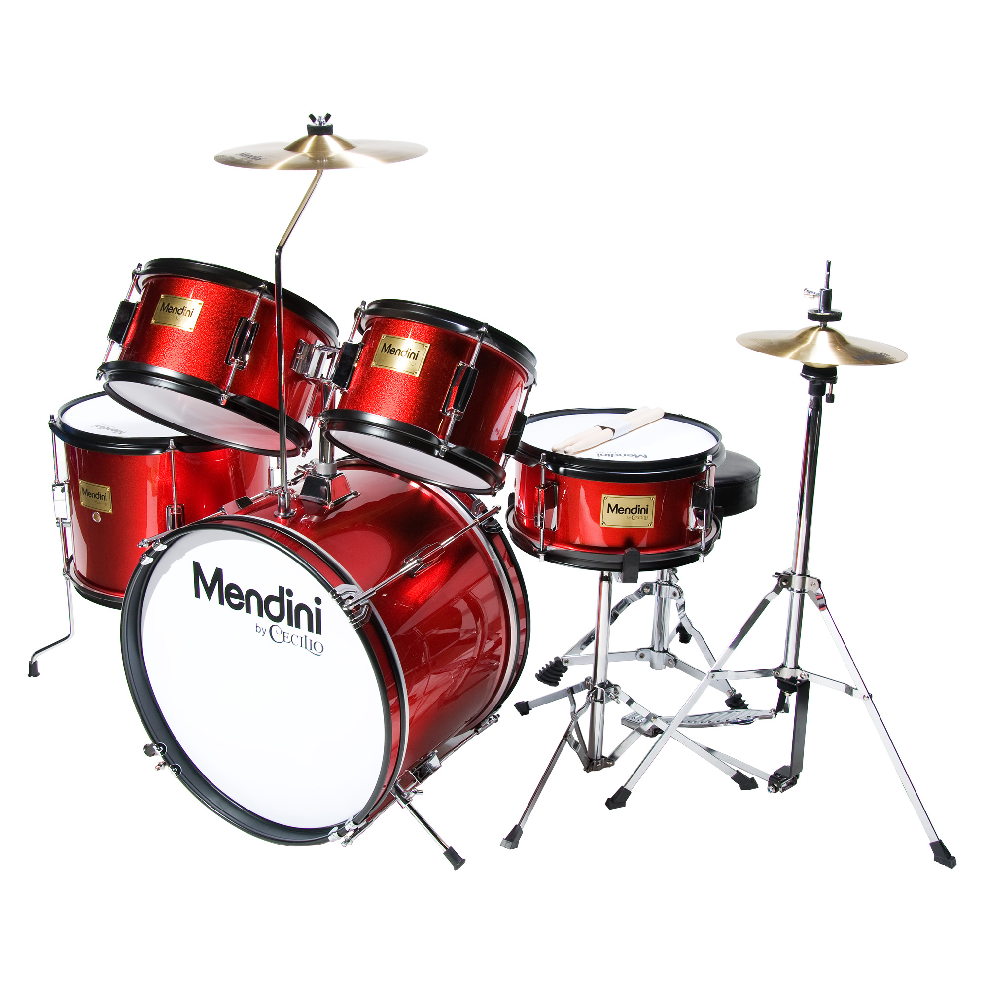 Mendini by Cecilio 16″ 5-Piece Complete Kids / Junior Drum Set with Adjustable Throne, Cymbal, Pedal & Drumsticks, Metallic Bright Red, MJDS-5-BR