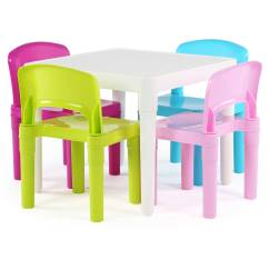 Kids Chair Set Summer Deck Chairs Tot Tutors Plastic Table And 4 Multiple Colors Walmart Com