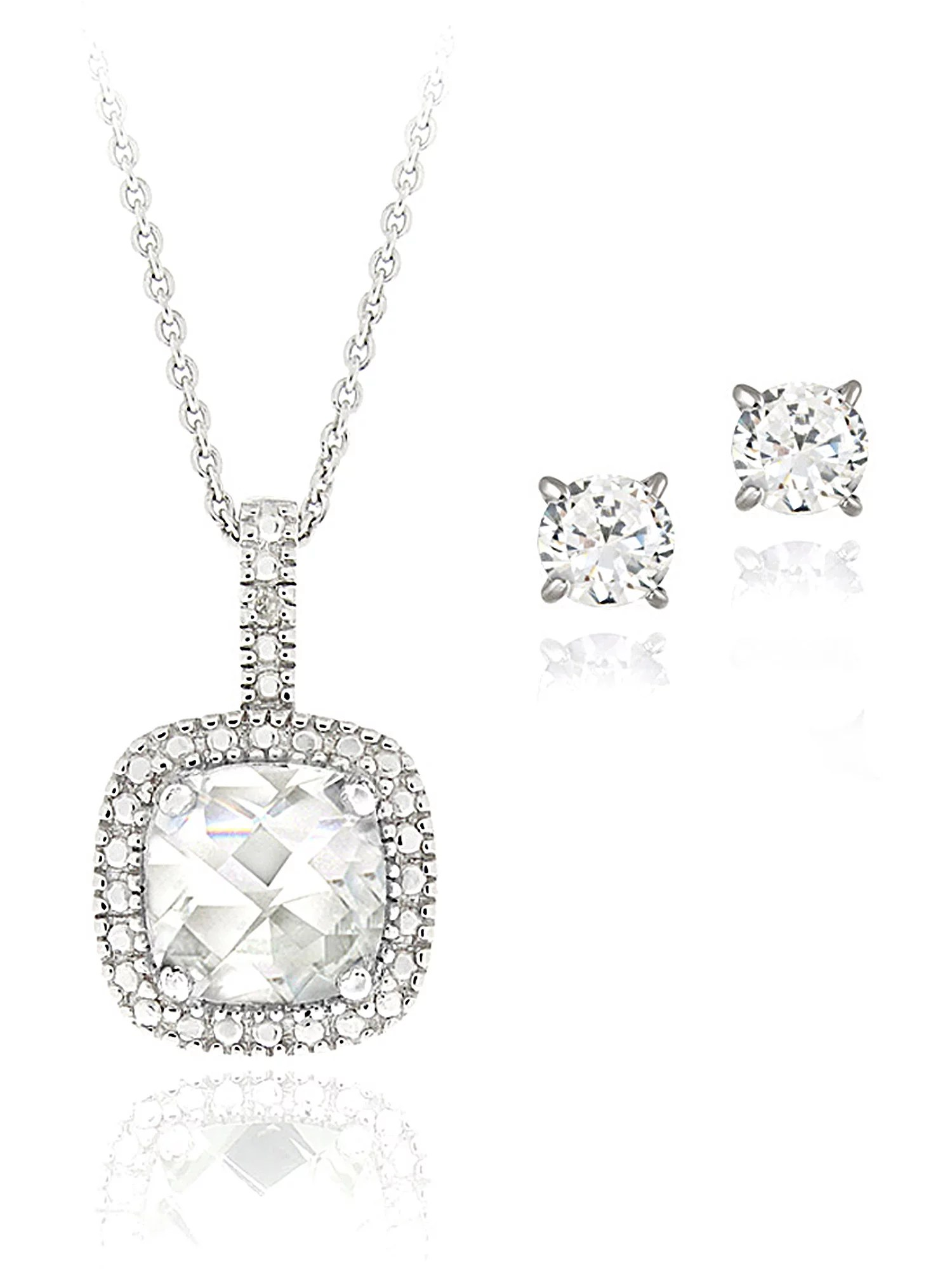 4 Carat T.G.W. White Topaz AND Diamond Accent Sterling