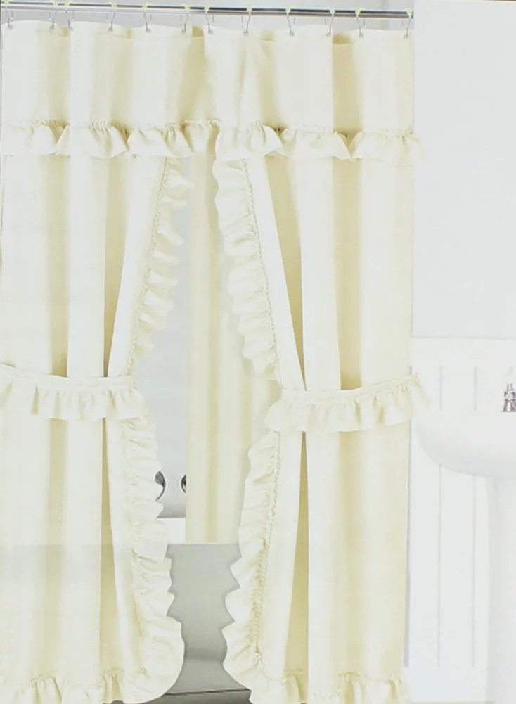ivory ruffled double swag shower curtain liner 70 x 72 w 12 roller rings