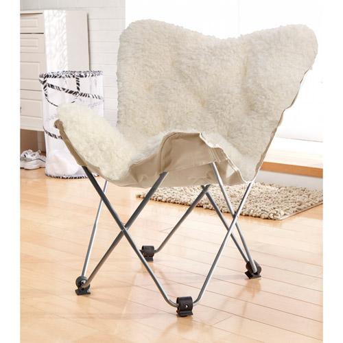 Luxe Faux Fur Butterfly Chair White  Walmartcom