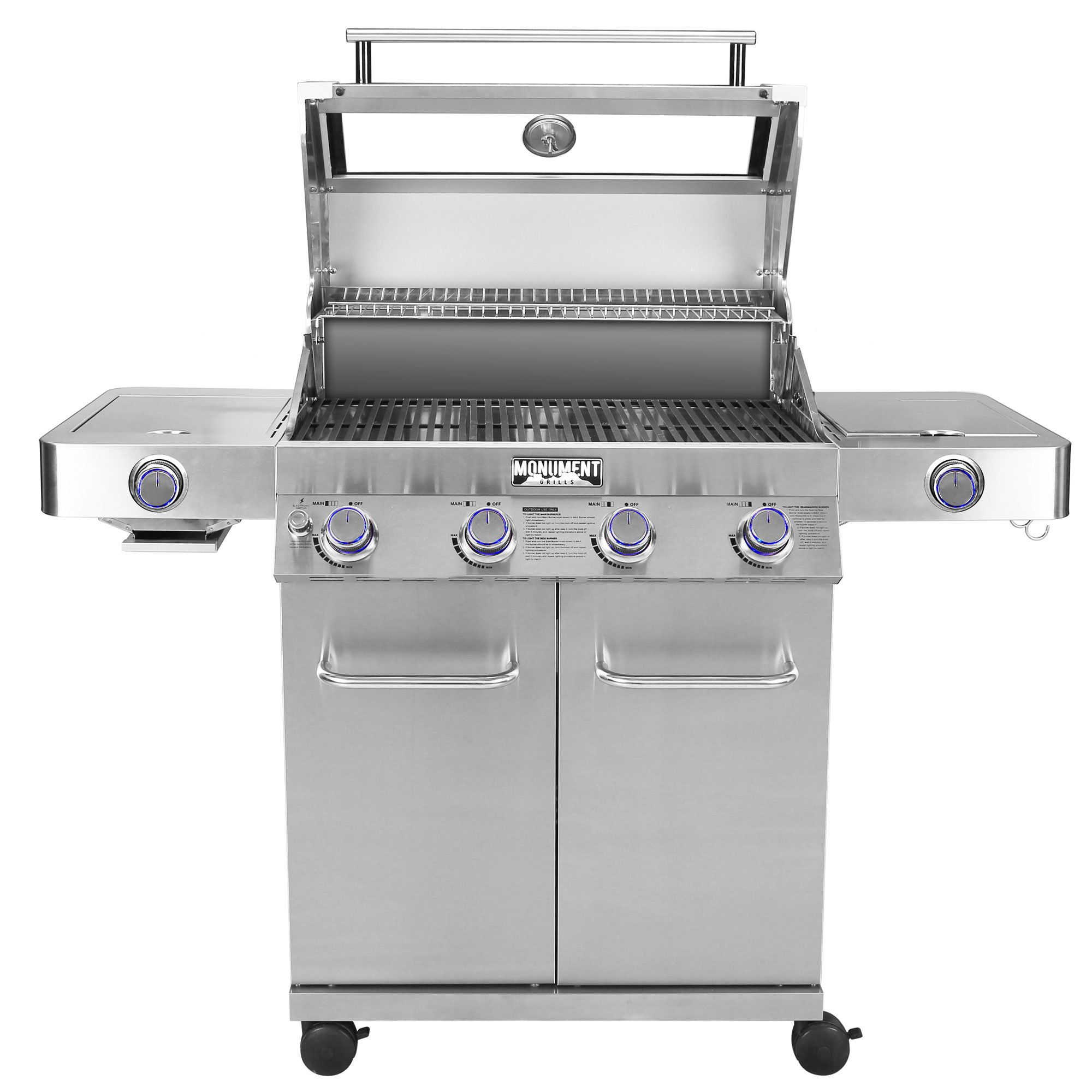 hight resolution of monument grills clearview lid 4 burner with side sear burner propane gas grill walmart com