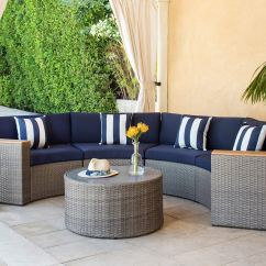 Maze Rattan Half Moon Sofa Set Grey Gold Velvet Bed Suncrown Outdoor Crescent Sectional Furniture