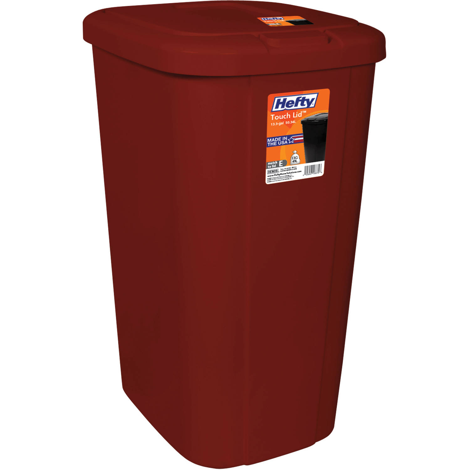 hefty tall kitchen bags cabinet door styles touch-lid 13.3-gallon trash can, multiple colors ...