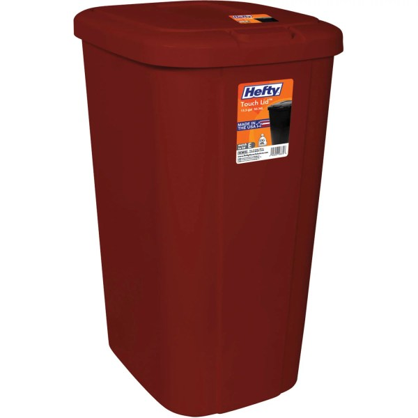 Hefty Touch Lid 13.3 Gallon Trash Red