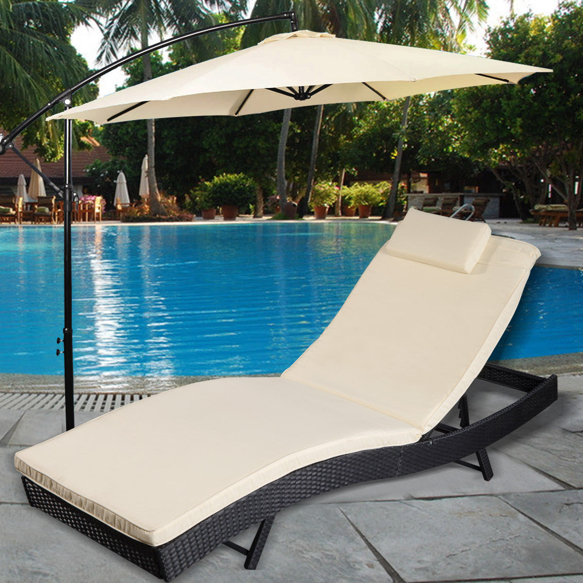 Pool Chaise Lounge Chairs Goplus Adjustable Pool Chaise Lounge Chair Outdoor Patio Furniture Pe Wicker W Cushion