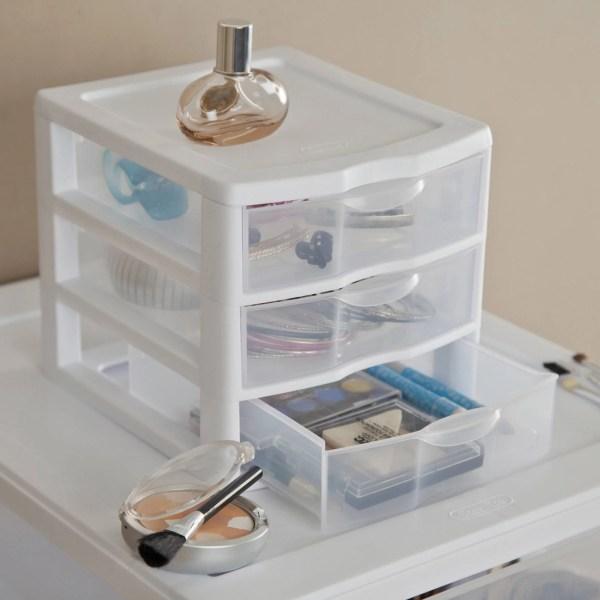 Plastic Small 3 Drawer Storage Boxes Set Of 6 Home Organizer - White