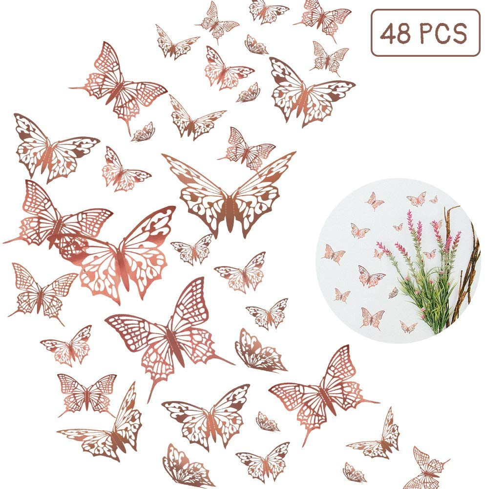 48pcs Butterfly Wall Decals Sticker 3d Metallic Hollow Out Butterfly Wall Decorations Removable Mural Diy Butterfly Stickers Set For Home Decoration Kids Room Bedroom Gold Walmart Canada