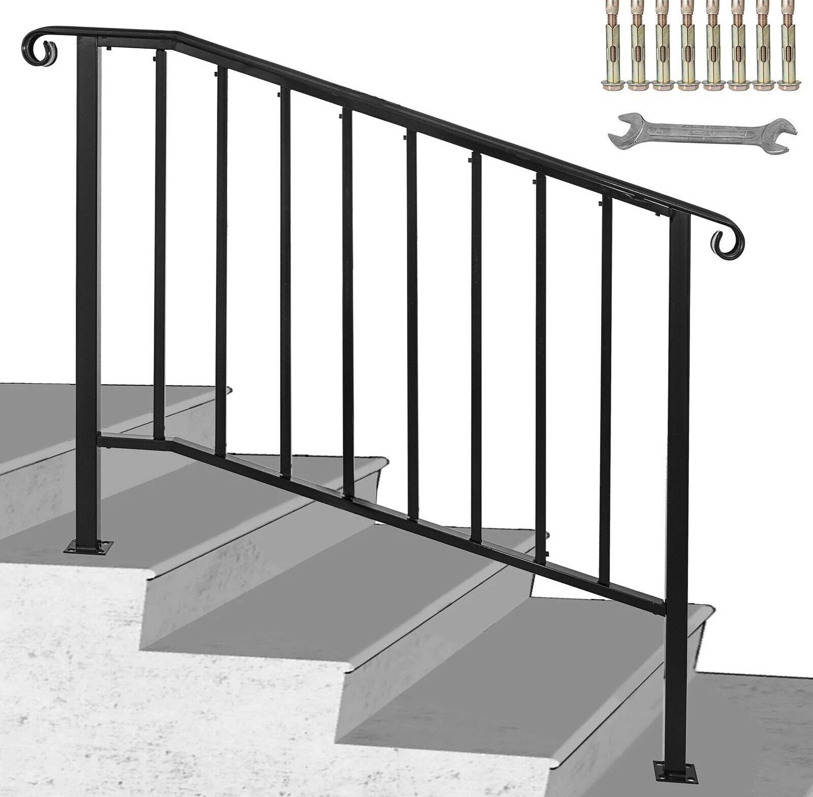 Vevor Handrail Picket 3 Fits 3 Or 4 Steps Walmart Com Walmart Com | 3 Step Stair Railing | Manufactured Home | Basic Deck | Residential Stair | 2 Bar | Three Step