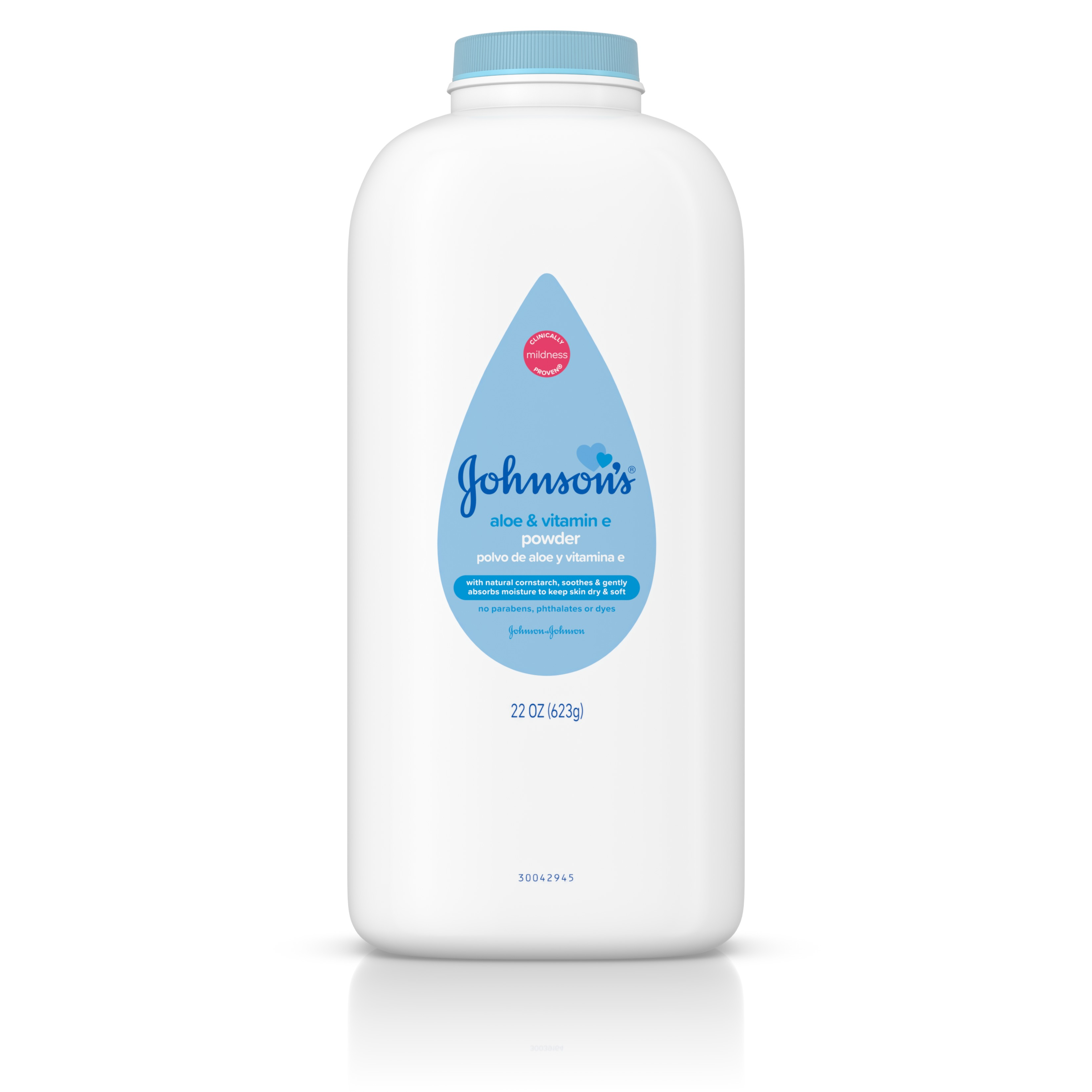 Johnson's Baby Powder with Naturally Derived Cornstarch, Aloe Vera & Vitamin E, 22 oz