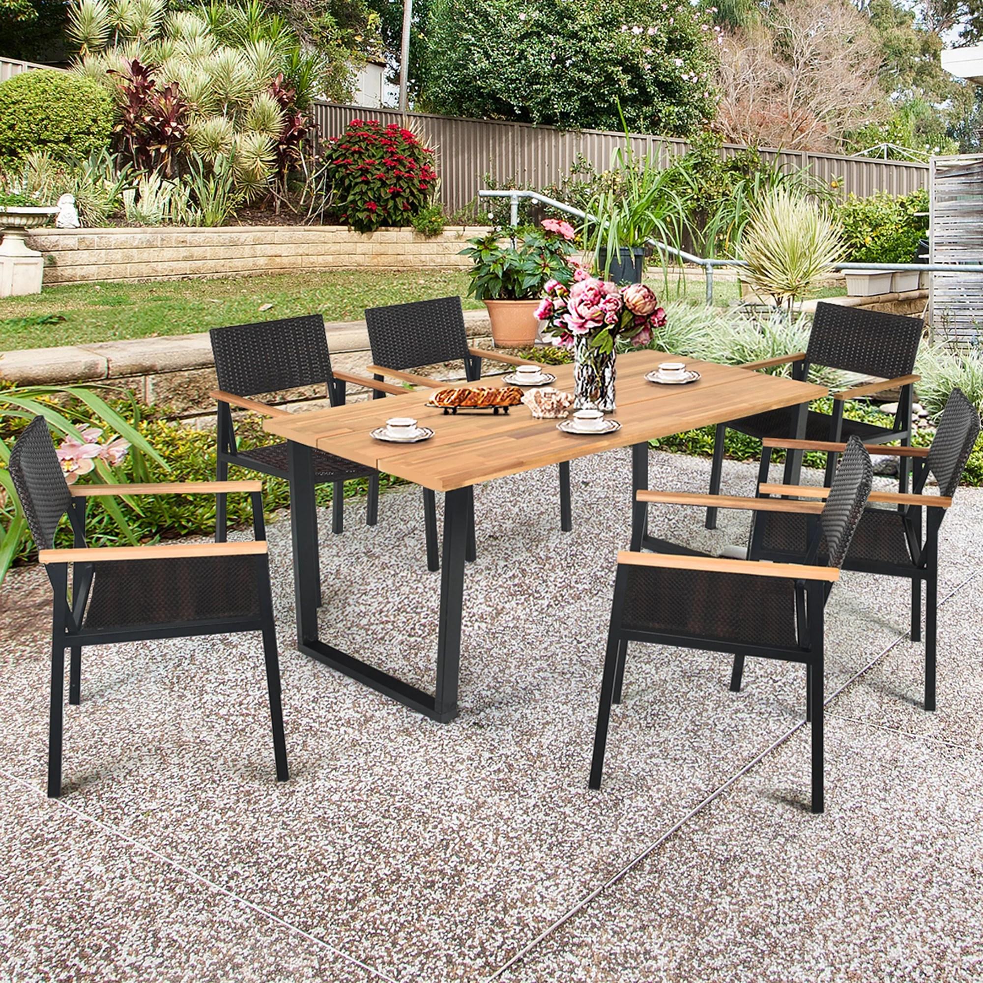 gymax 7pcs patio garden dining set outdoor dining furniture set w umbrella hole