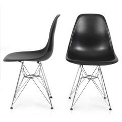 Eames Style Plastic Chair Folding Table Set Belleze Of 2 Molded Eiffel Side Black Walmart Com