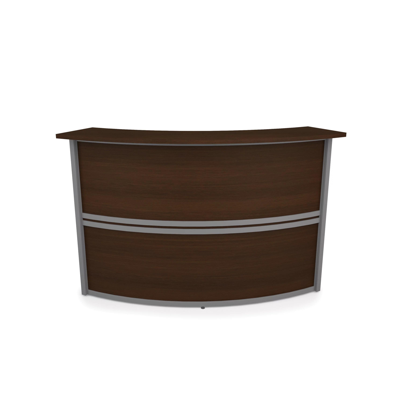 ofm marque series model 55295 reception desk station add on unit walnut with silver frame