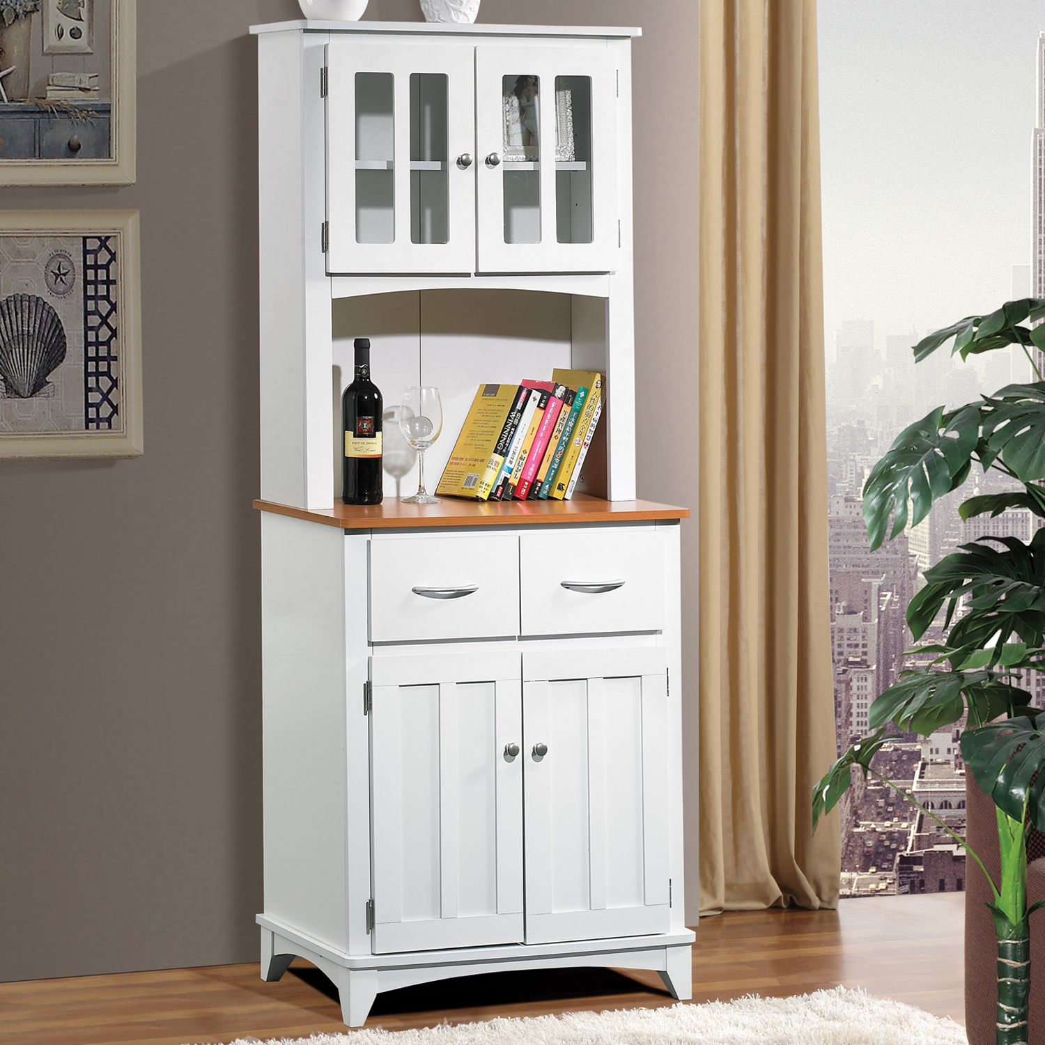 home source brook white and cherry tall microwave cart with storage