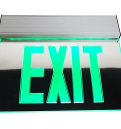 nicor lighting edge lit led emergency exit sign mirrored with green lettering exl2  [ 3508 x 2600 Pixel ]