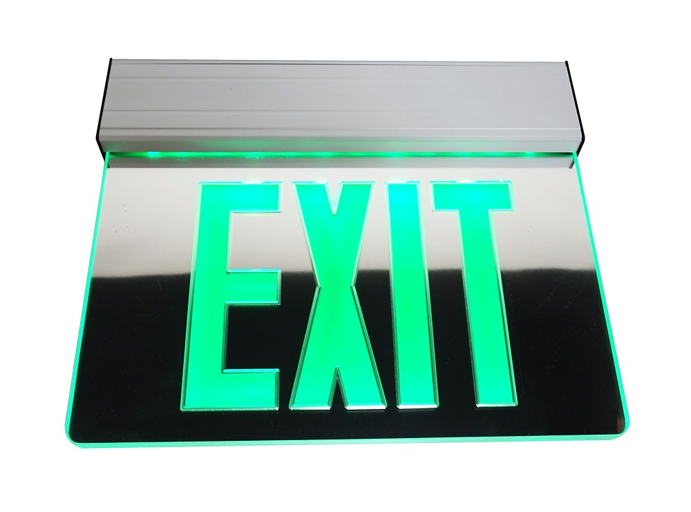 medium resolution of nicor lighting edge lit led emergency exit sign mirrored with green lettering exl2