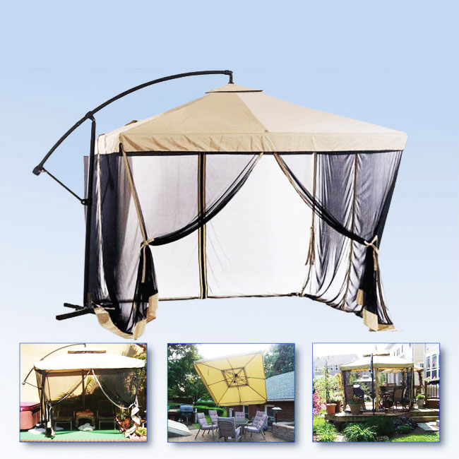apontus offset tan patio umbrella instant gazebo with mesh netting walmart com