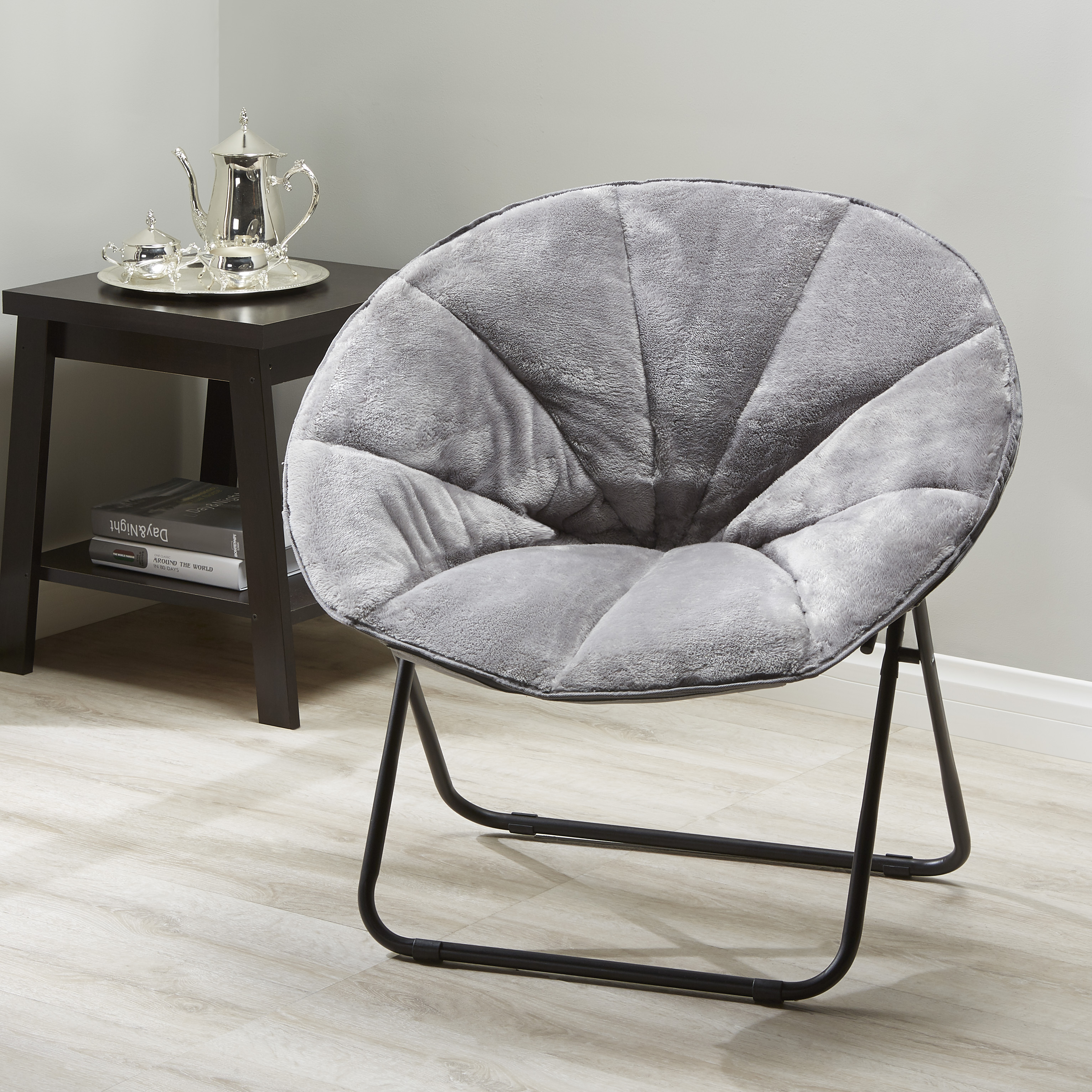 saucer chairs sam s club shop on wheels mainstays folding plush chair multiple colors walmart com