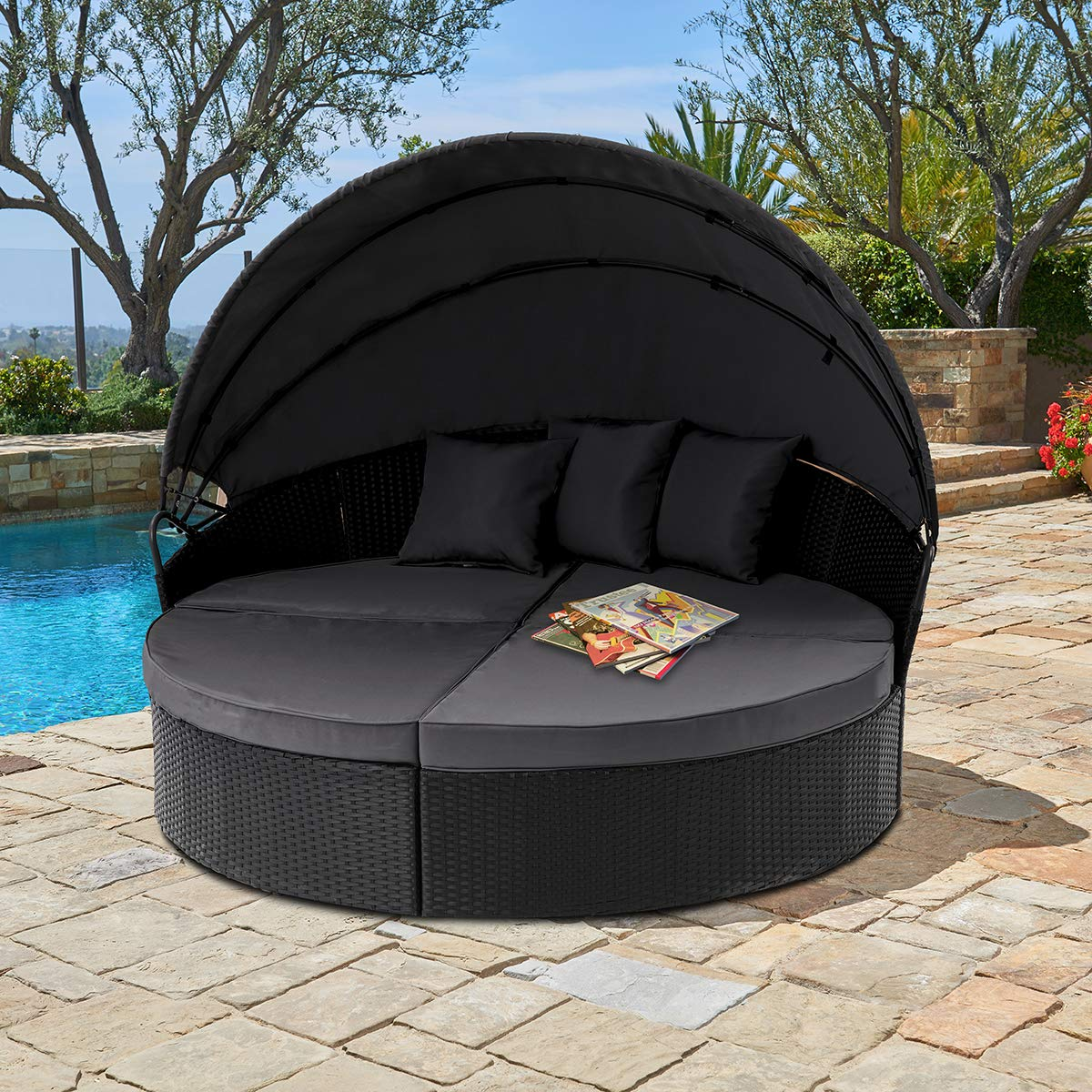 suncrown outdoor patio round retractable canopy daybed black wicker furniture clamshell sectional seating w washable cushions patio backyard