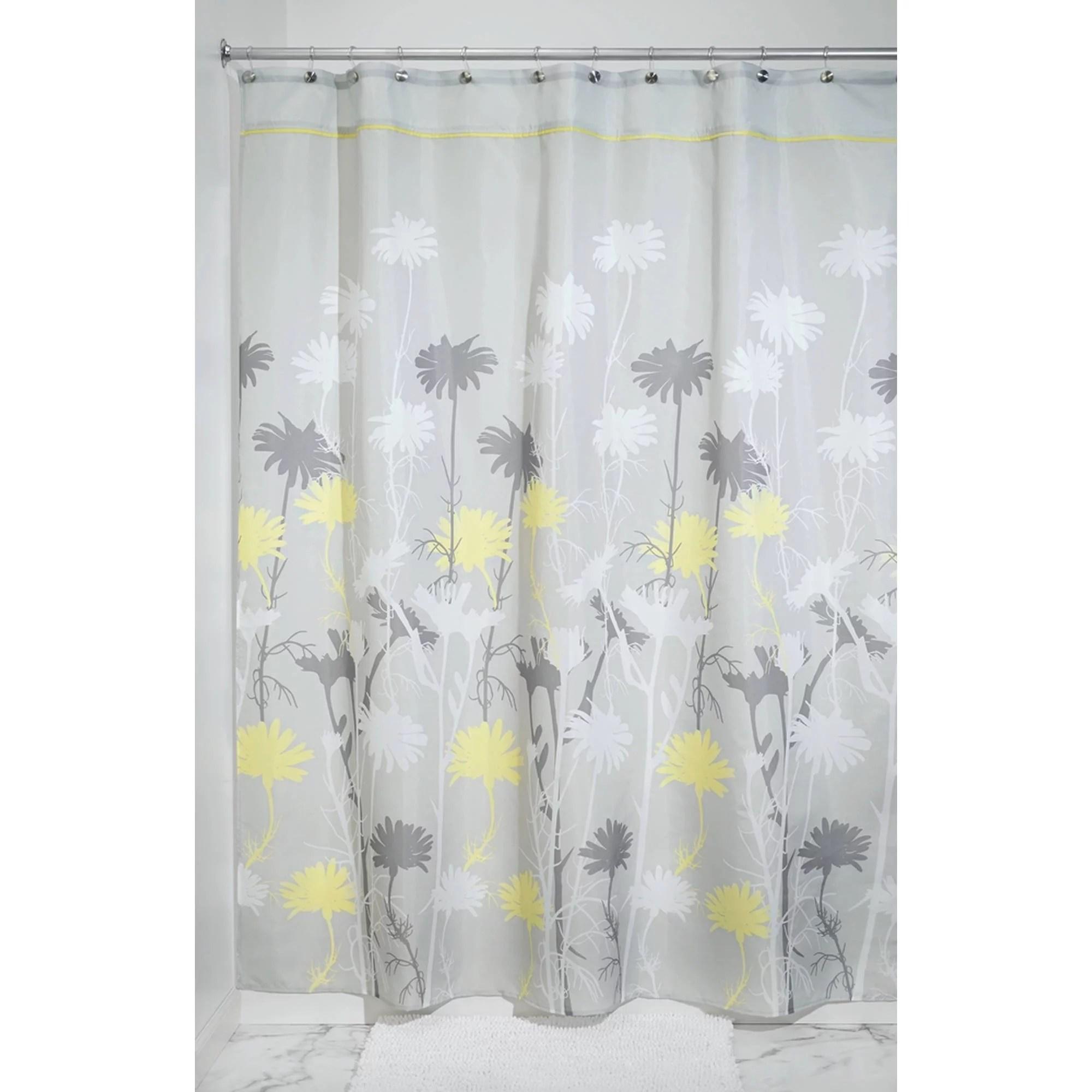 interdesign daizy fabric shower curtain stall 54 x 78 gray yellow
