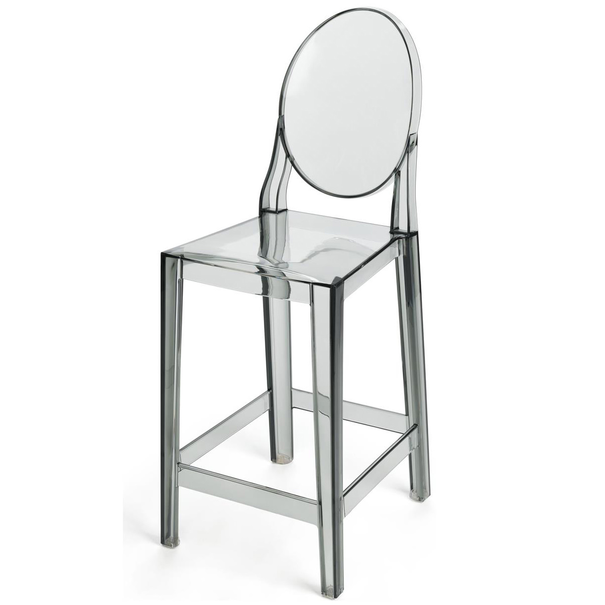ghost chair bar stool karlstad slipcover 2xhome 25 seat height smoke contemporary modern glam barstool side chairs molded plastic counter accent lounge no