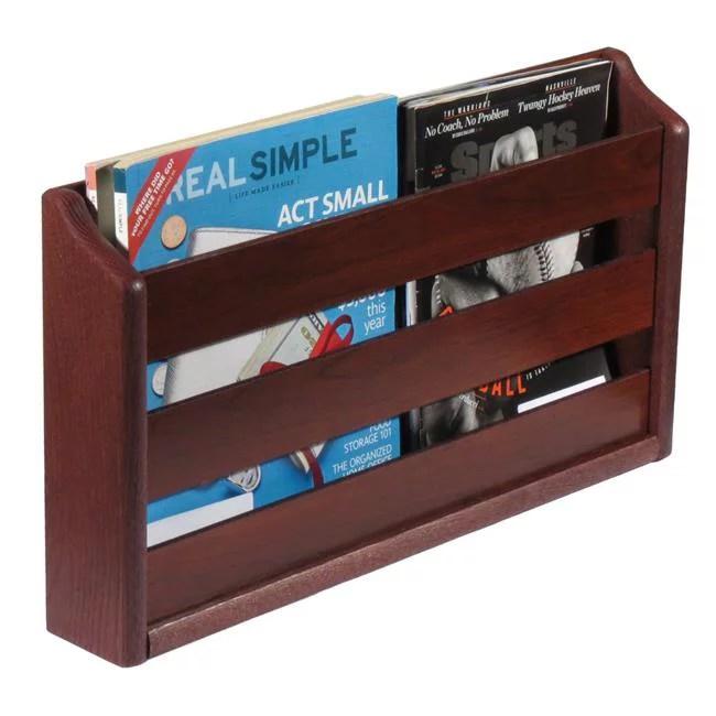 wooden mallet mrs2mh 2 pocket wall mounted magazine rack mahogany