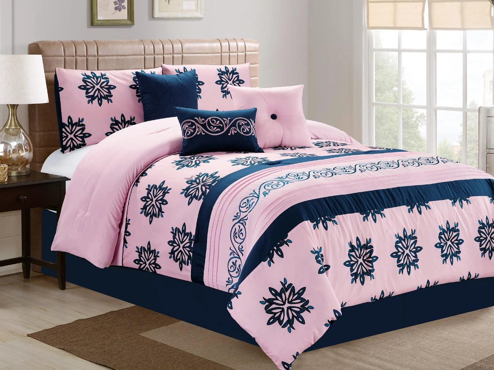 7 pc prisca floral leaves scroll vine damask embroidery comforter set blush pink navy blue king