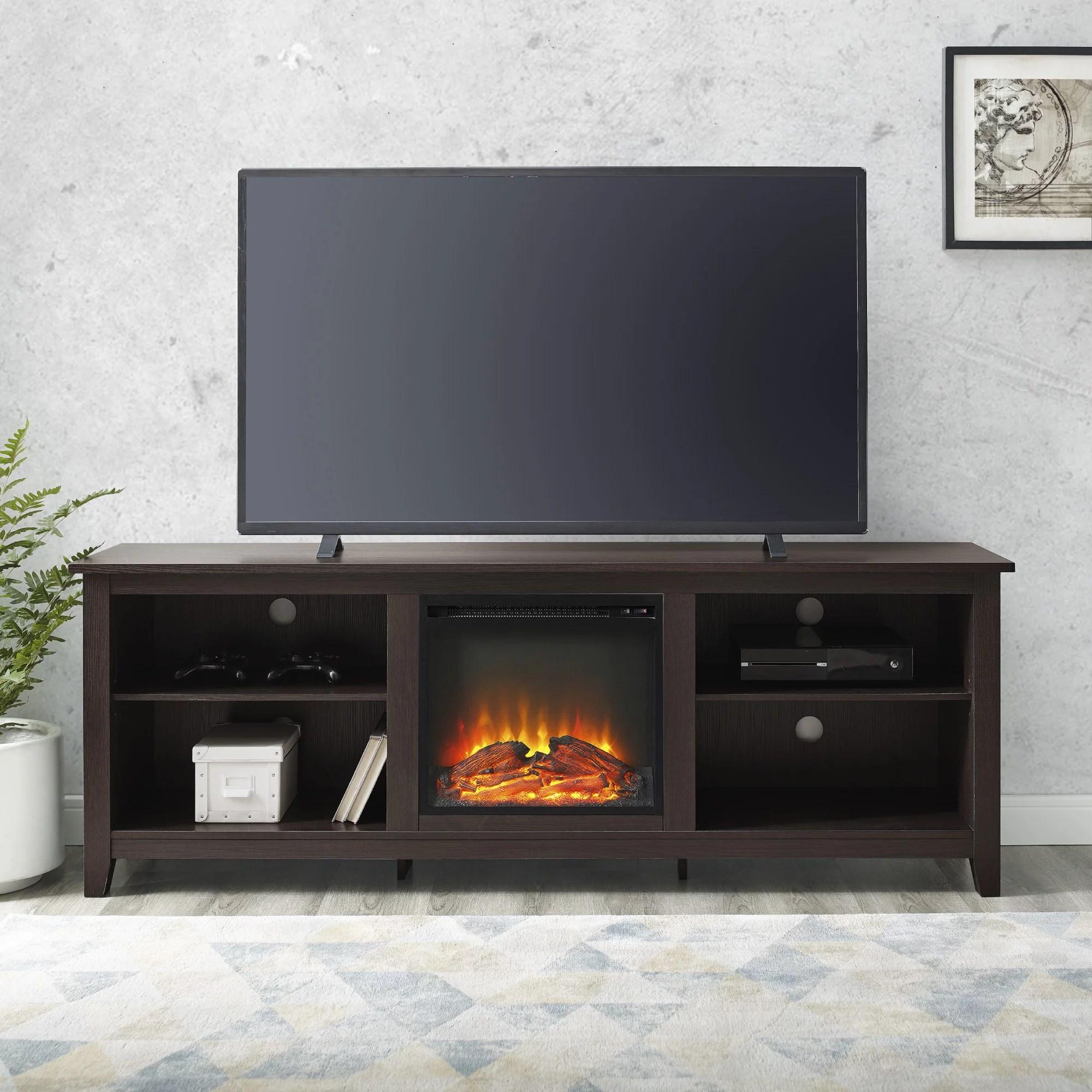 Walker Edison Traditional Fireplace Tv Stand For Tvs Up To 78 Espresso Walmart Com Walmart Com