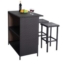 Rattan Wicker Bar Bbq Dining Set Table And 2 Stools Patio