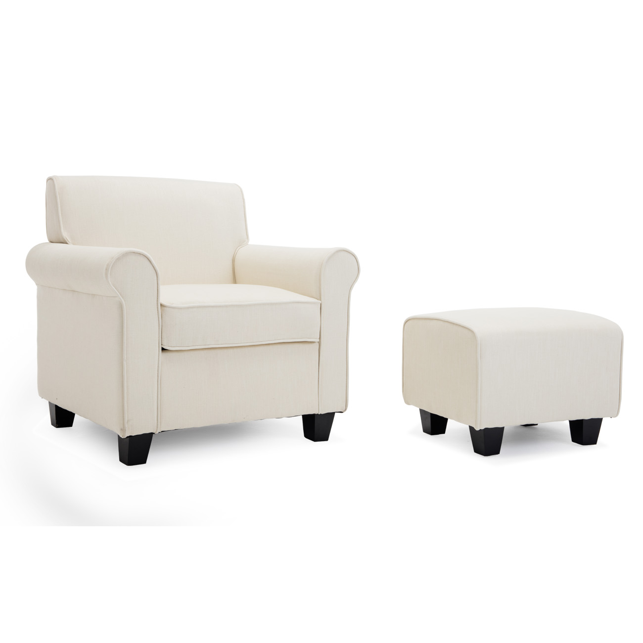chairs and ottomans upholstered recovering chair cushions corners belleze audrey accented retro style ottoman wood legs living room dorm poly fiber foam walmart com