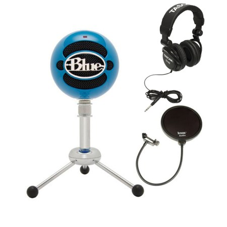 Blue Microphones Snowball USB Microphone (Electric Blue) with JVC Full-Size Studio Headphones & Microphone Pop Filter